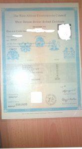 Original WAEC certificate